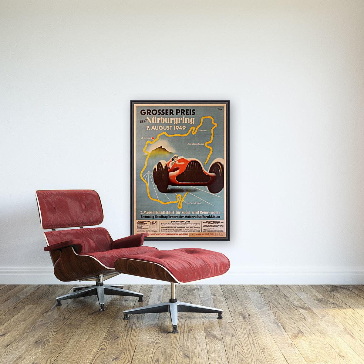 Original Vintage Sports Car Racing Poster for the 1949 Nurburgring Grand Prix  Art