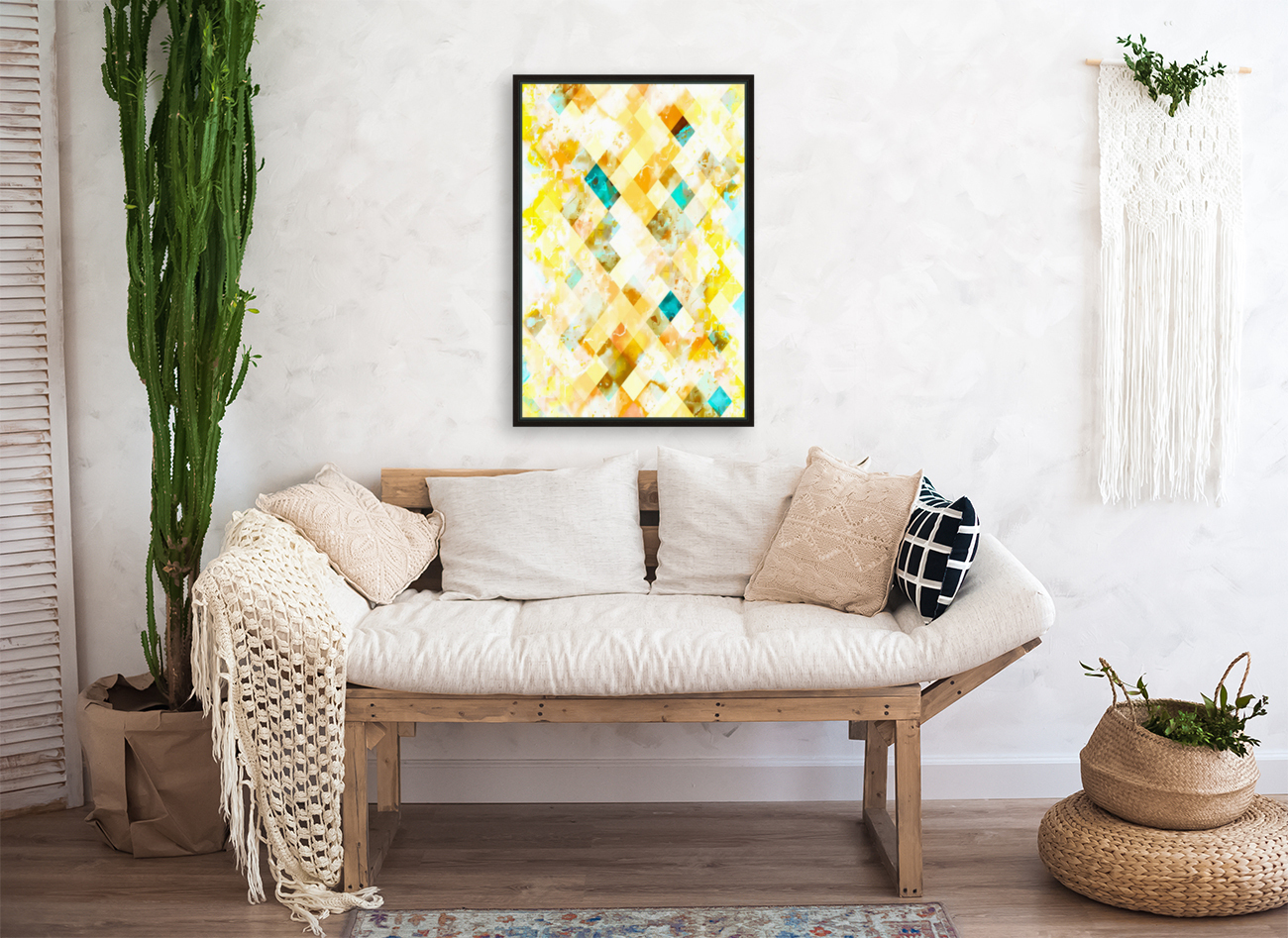 geometric pixel square pattern abstract in yellow brown blue  Art