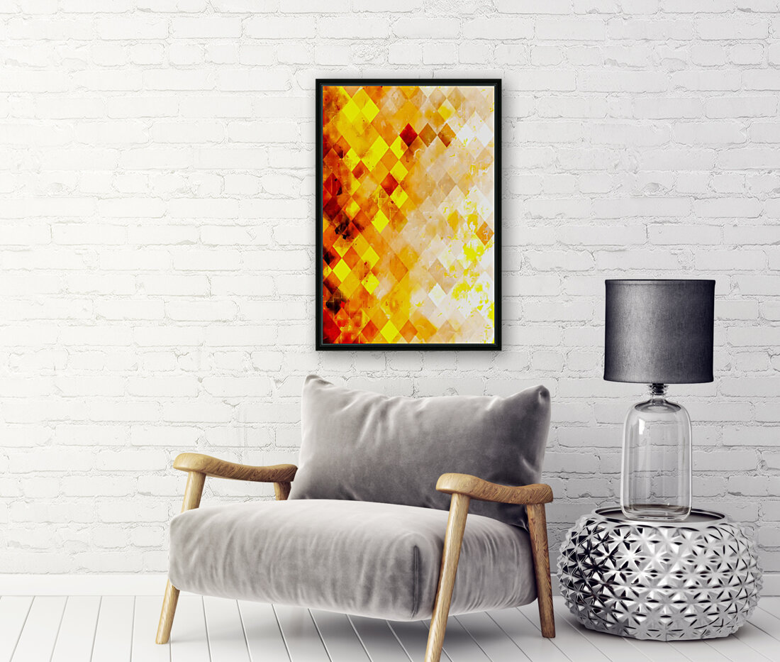 geometric pixel square pattern abstract in brown and yellow  Art