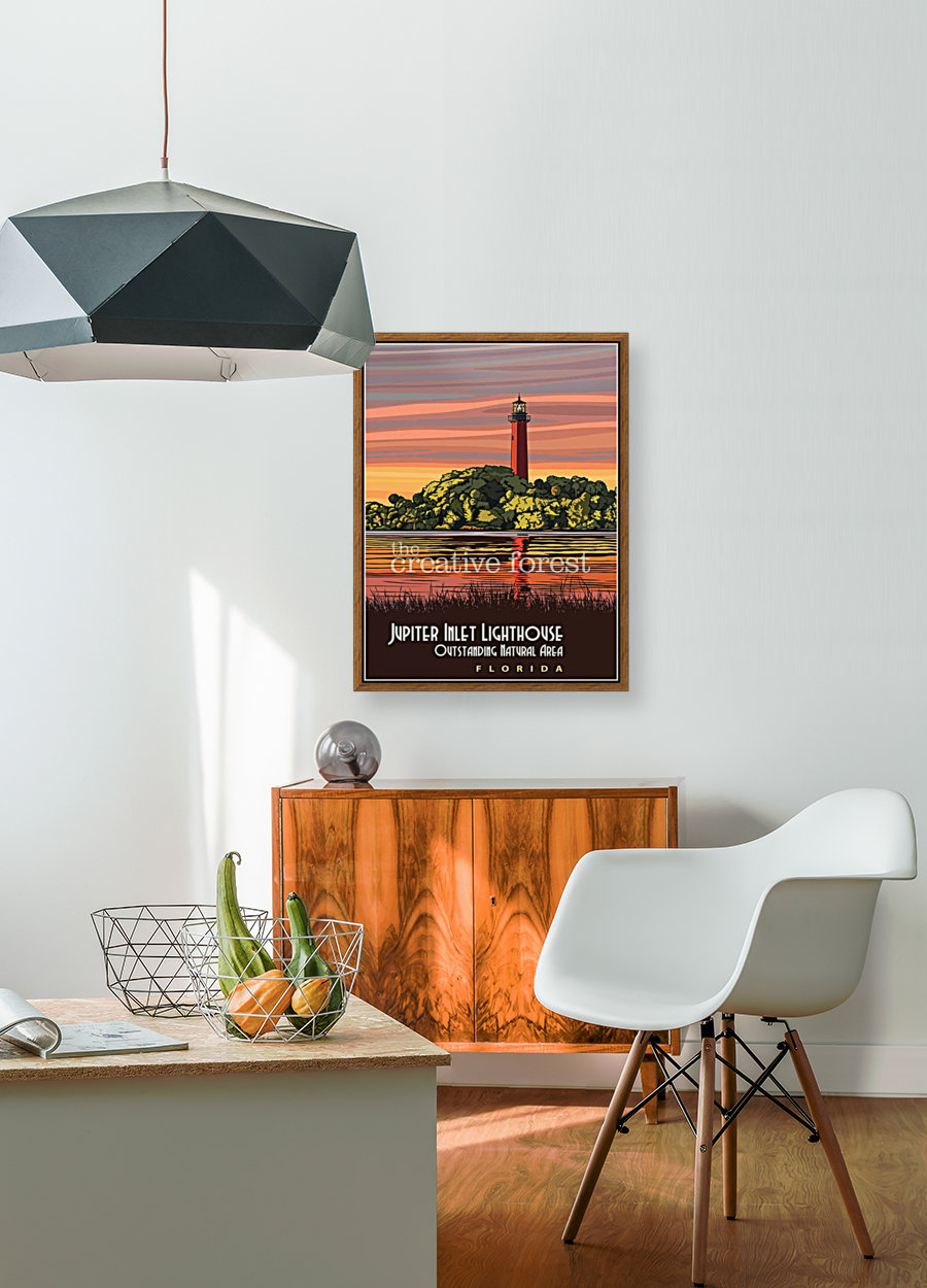 Jupiter Inlet Lighthouse, Vintage Florida Travel Reproduction  Art
