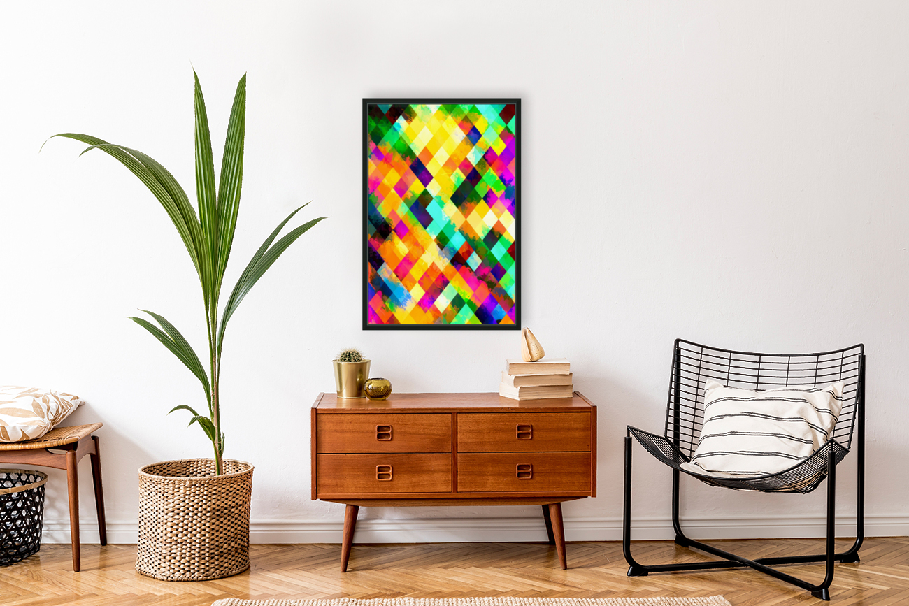 geometric square pixel pattern abstract background in yellow blue green pink orange  Art