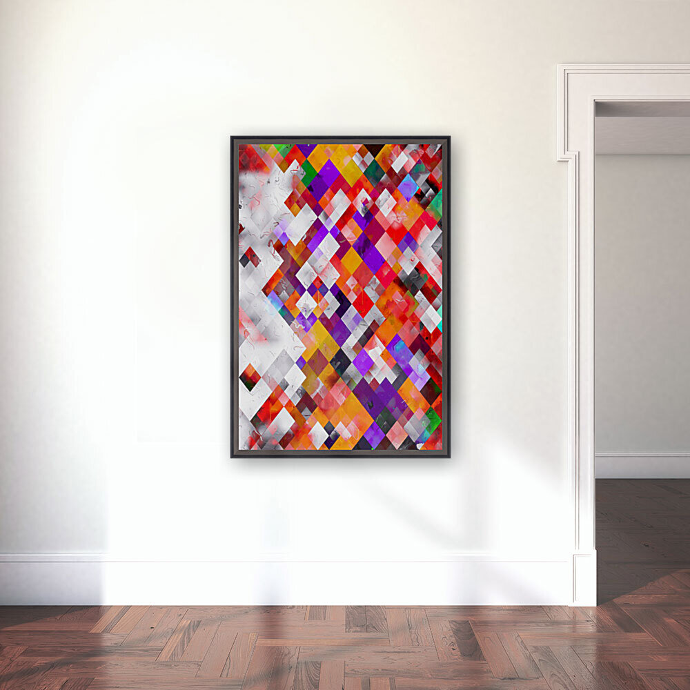 colorful geometric square pixel pattern abstract art in orange red purple  Art