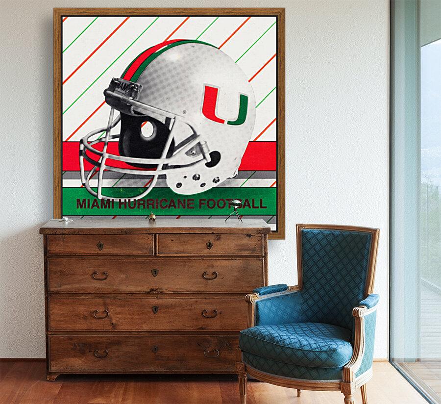 Retro Miami Hurricane Football Helmet Art  Art
