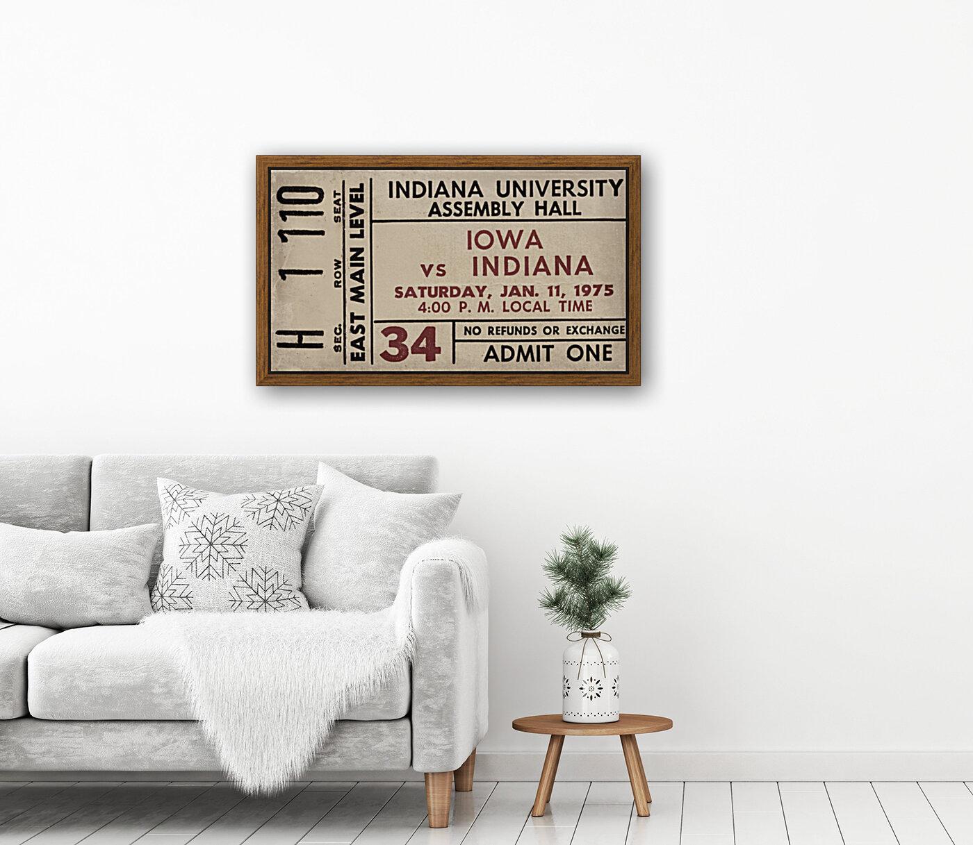 1975 Indiana vs. Iowa Basketball Ticket Metal Sign  Art