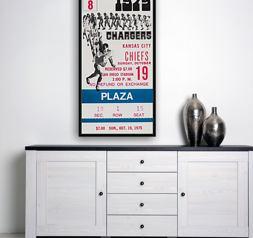 1975 San Diego Chargers Ticket Canvas  Art