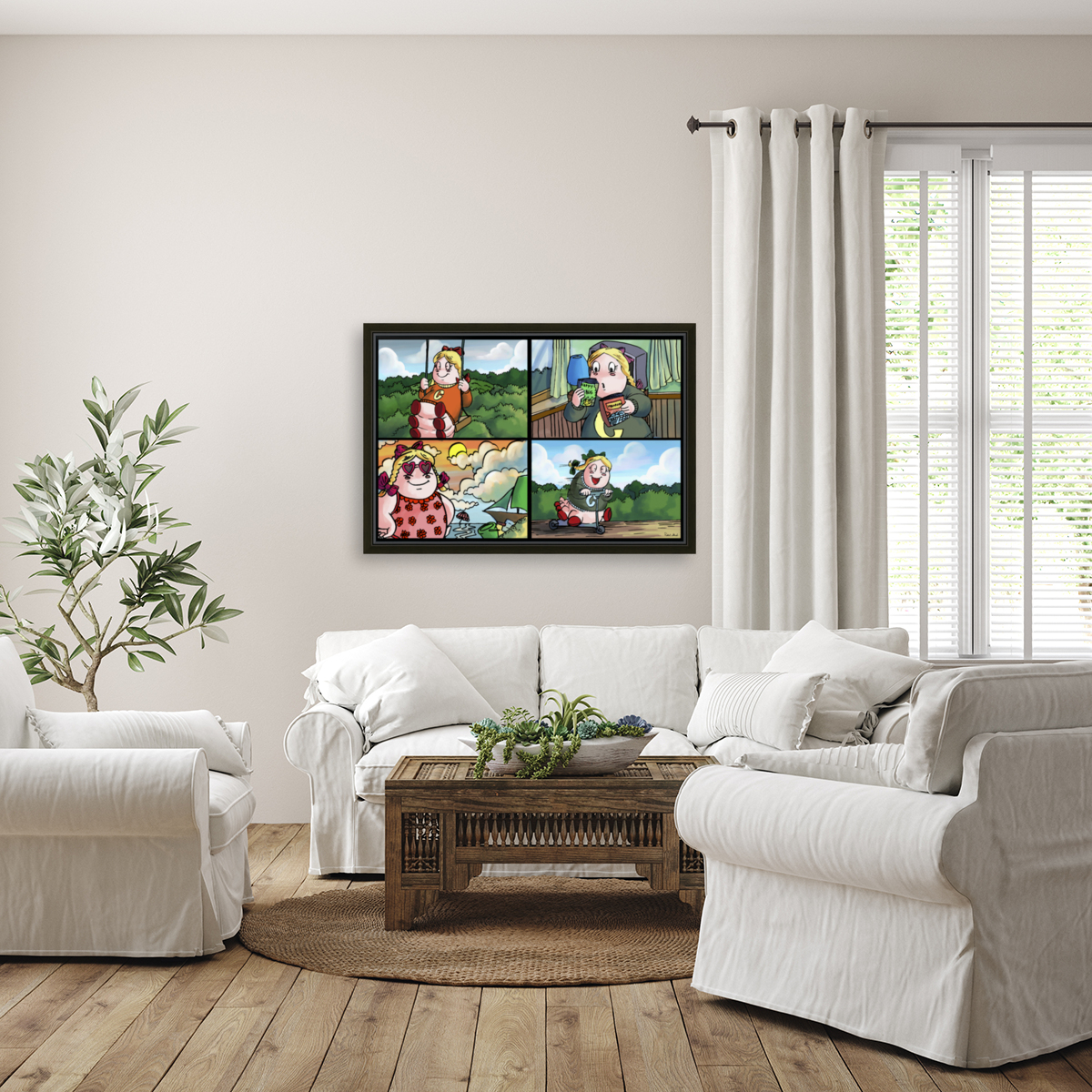 Cat the Caterpillar in Action   4 panel Favorites for Kids Room and Nursery   Bugville Critters  Art