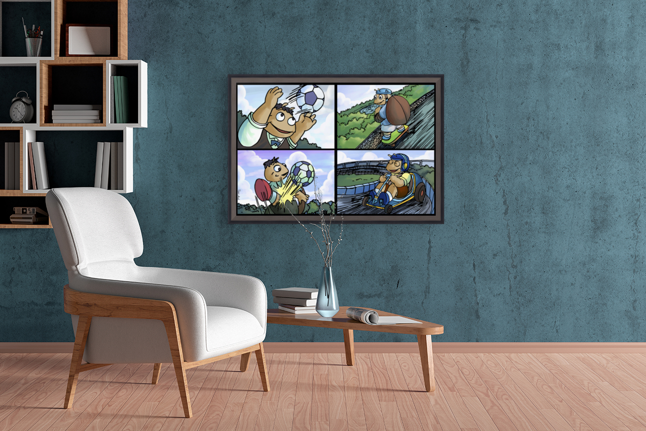 Barry the Beetle in Action   4 panel Favorites for Kids Room and Nursery   Bugville Critters  Art