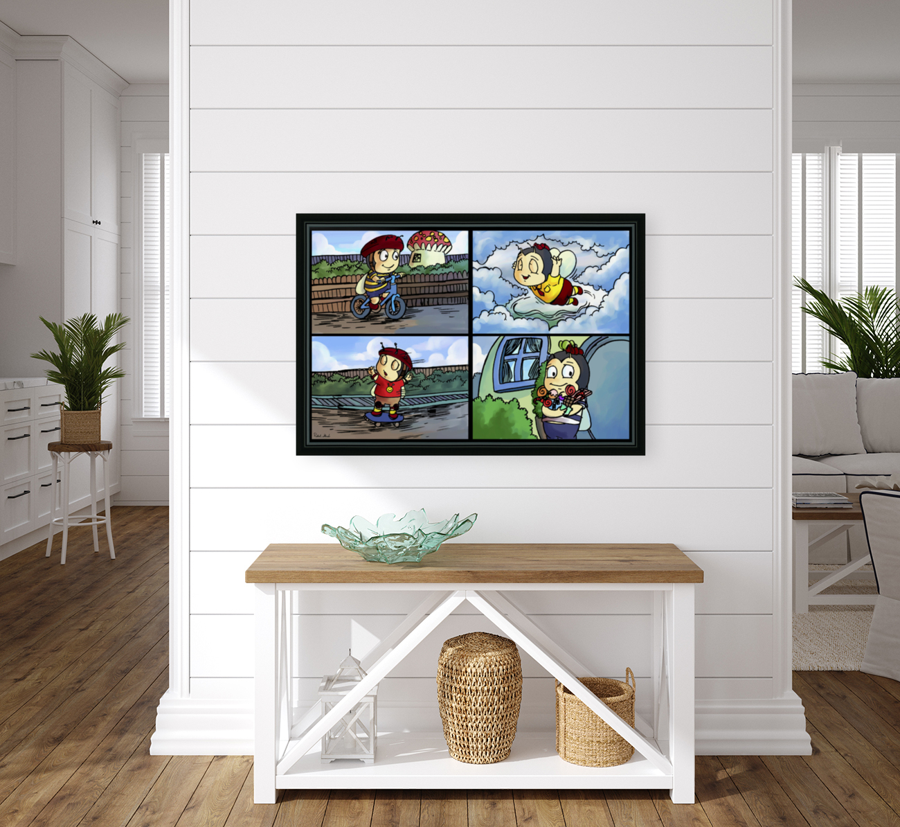 Buster the Bee in Action   4 panel Favorites for Kids Room and Nursery   Bugville Critters  Art