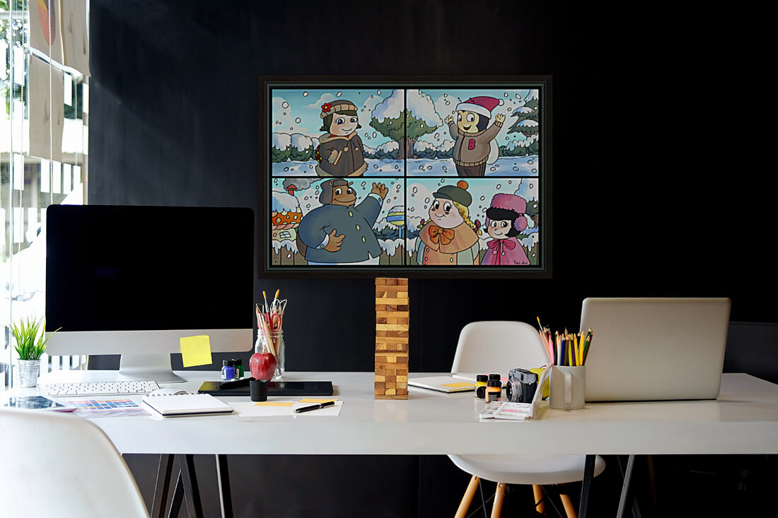 Winter Wonderland Fun   Playing in the Snow   4 panel Favorites for Kids Room and Nursery   Bugville Critters  Art