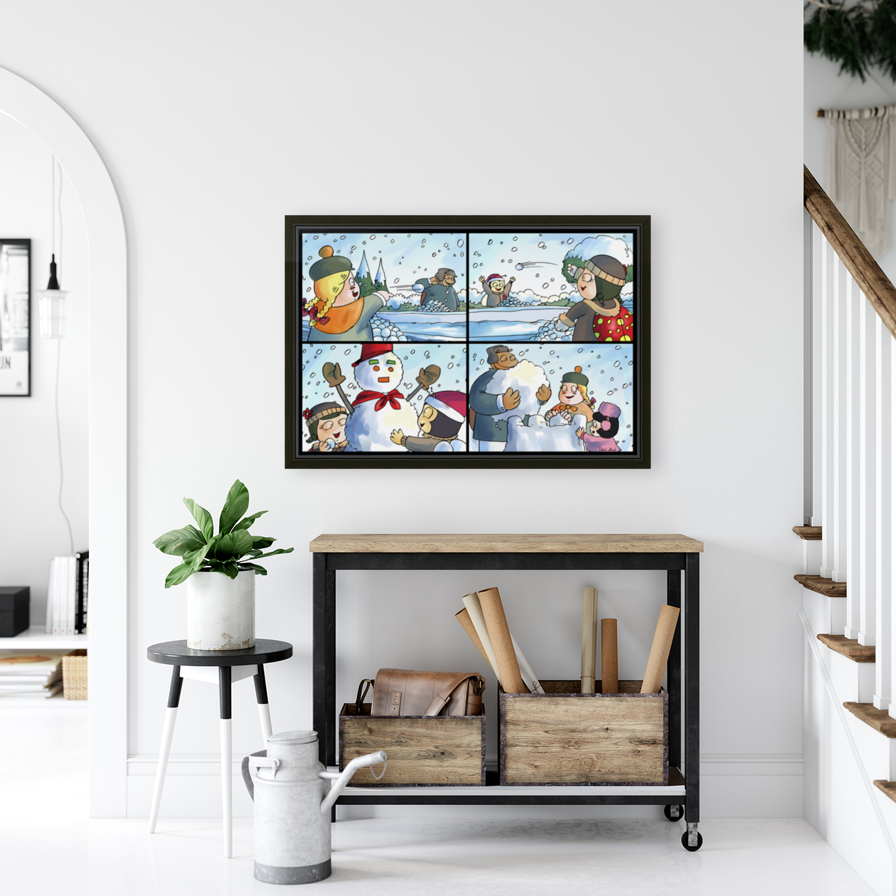 Winter Wonderland Fun   Snowballs  Snowforts and Snowman   4 panel Favorites for Kids Room and Nursery   Bugville Critters  Art