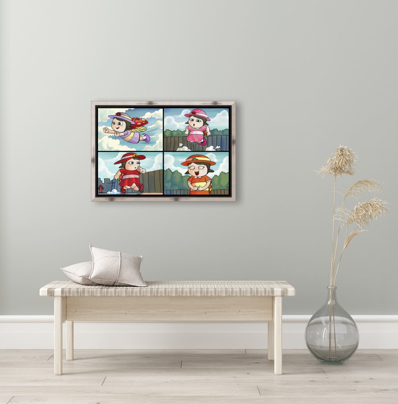 Lass the Ladybug on the Go   4 panel Favorites for Kids Room and Nursery   Bugville Critters  Art