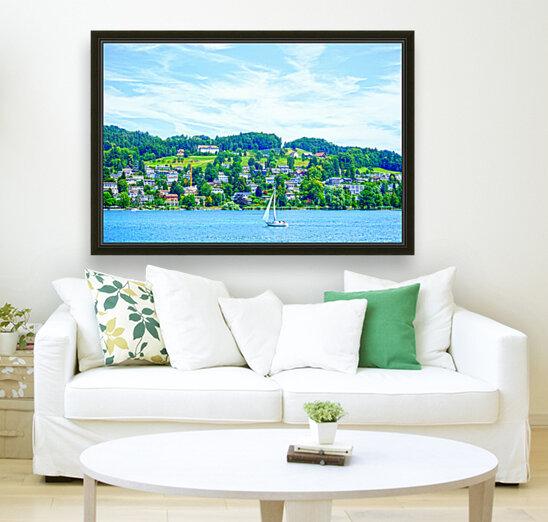 Sailboat On Lake Lucerne with Alpine Village in Background  Art
