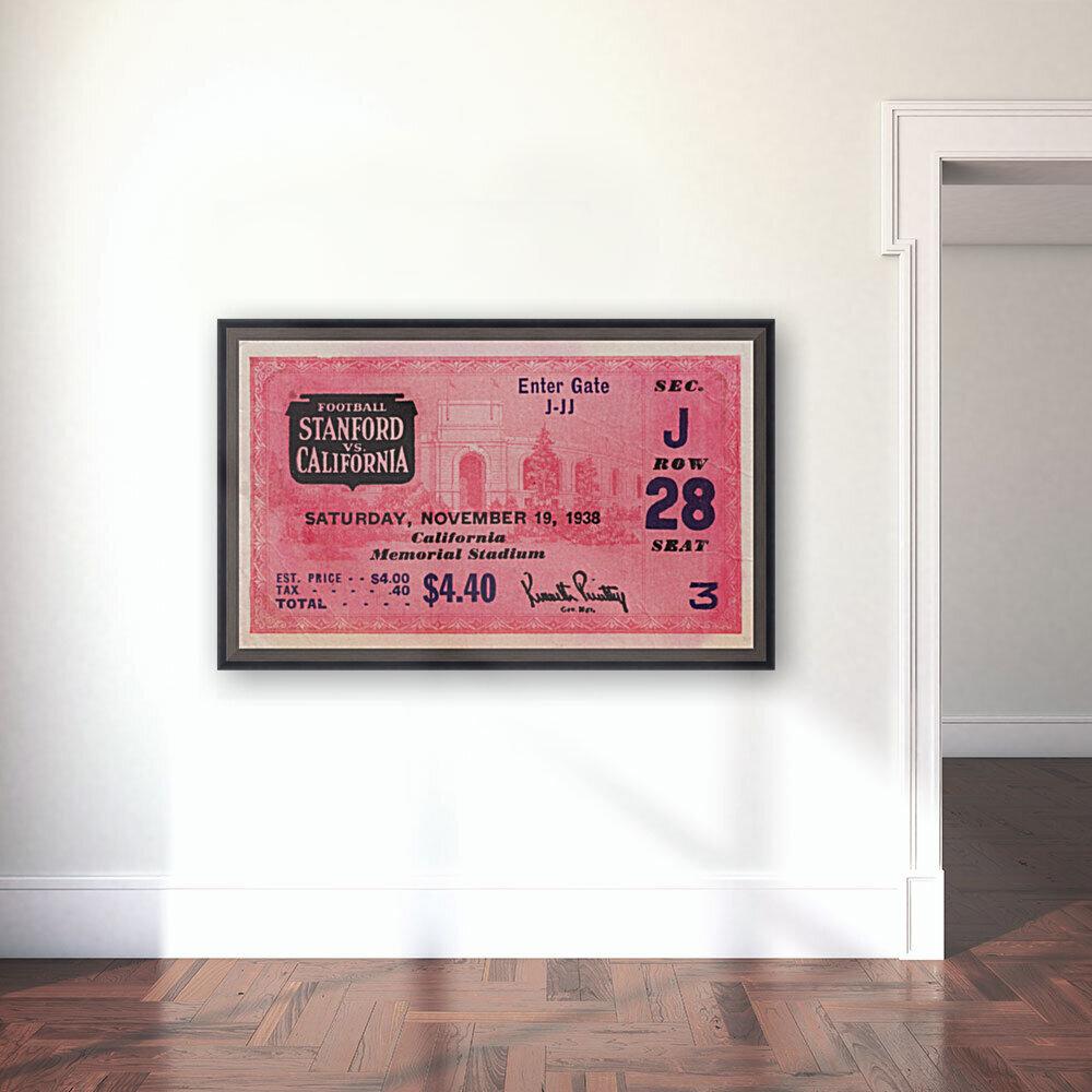 1938 Stanford Indians vs. Cal Bears Big Game Ticket Stub Art  Art