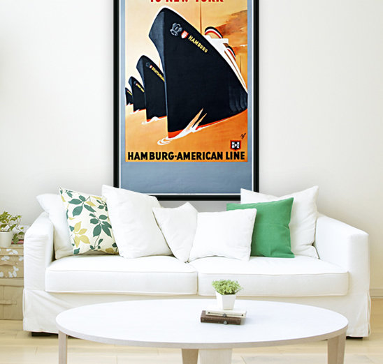 To New York Hamburg American Line travel poster  Art