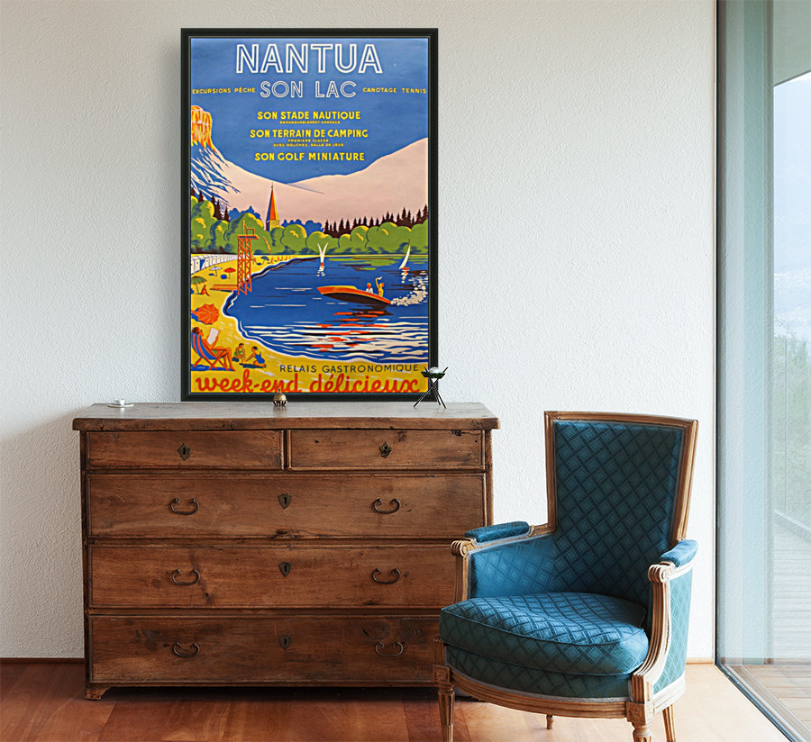Vintage French Travel Poster for Nantua with Floating Frame