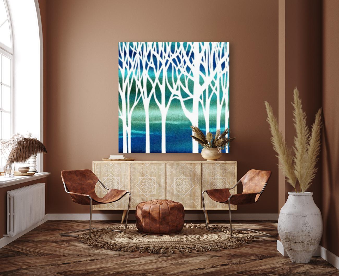 Blue Teal Forest   Art