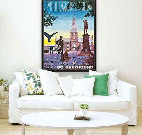Greyhound Bus Travel Poster for Philadelphia with Floating Frame