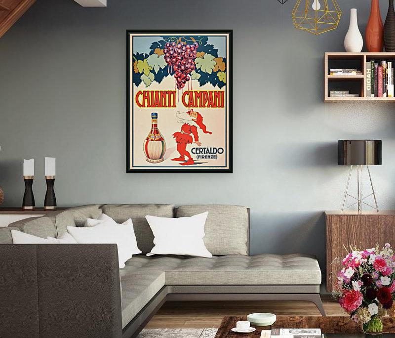 Original Vintage 1940 Advertising Poster For Chianti Campani  Art