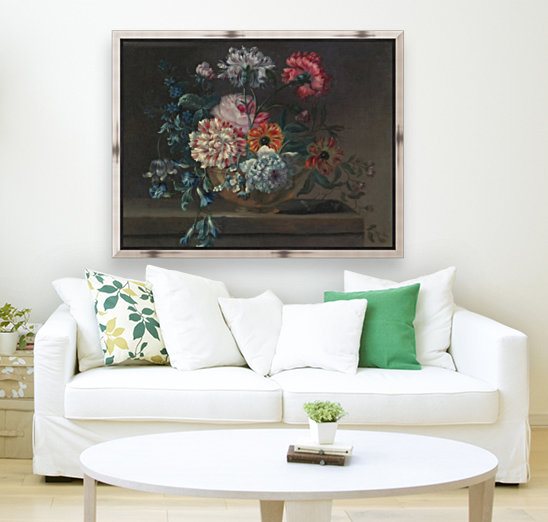 Still life of variegated carnations and other flowers on a ledge  Art