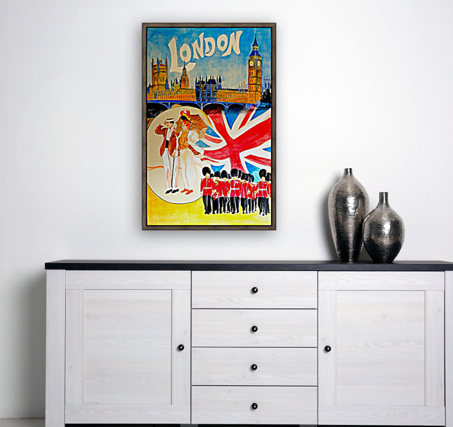 Vintage travel poster for London, England with Floating Frame