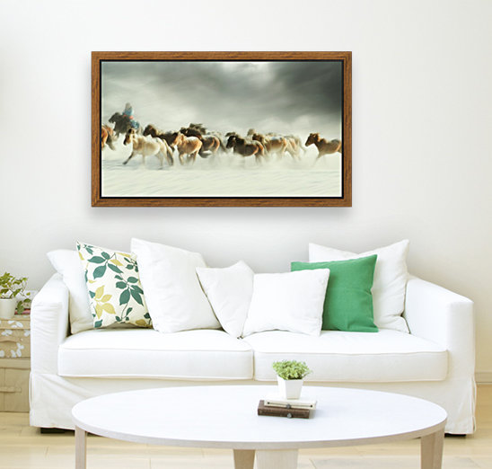 Horses gallop with Floating Frame