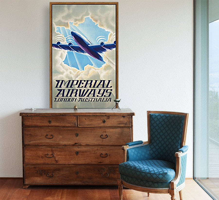Imperial Airways London - Australia vintage travel poster  Art