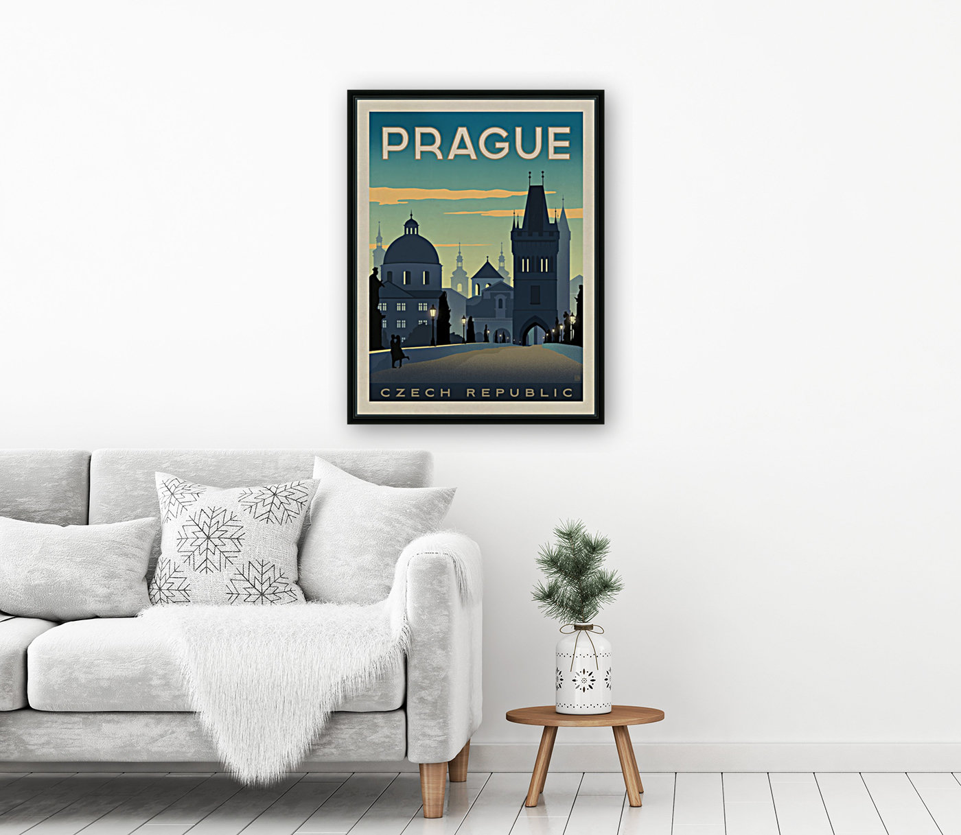 Prague vintage travel poster  Art