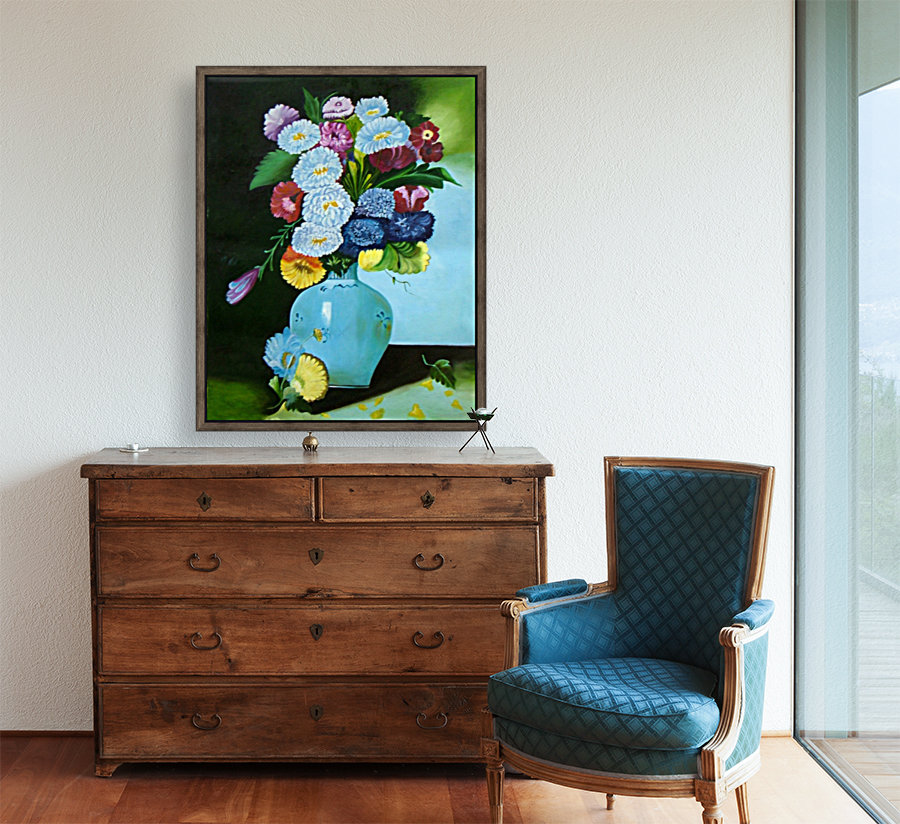 Floral Galaxy with Floating Frame