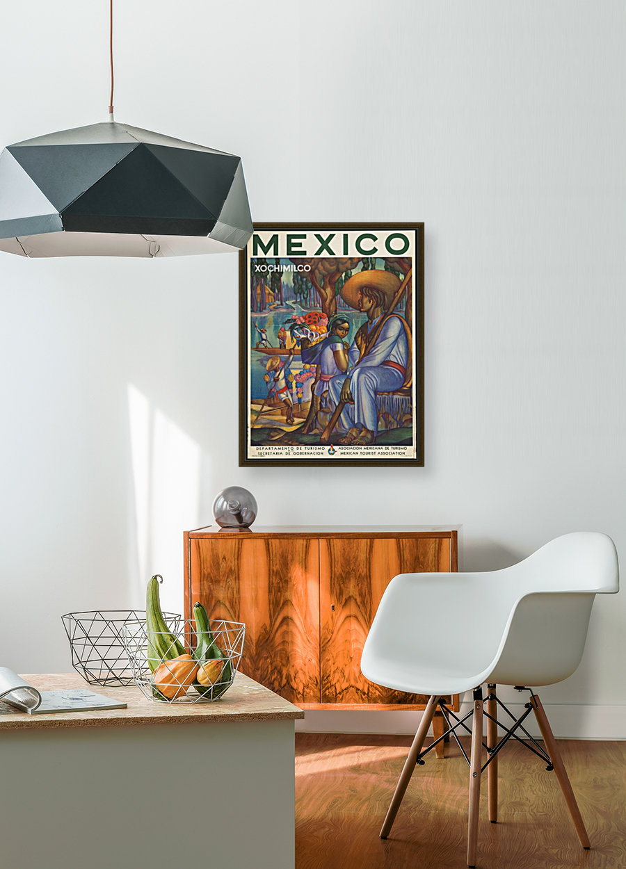 Mexico Xochimilco vintage poster with Floating Frame