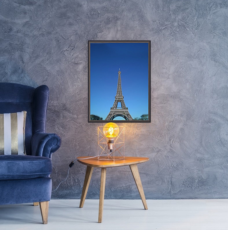 Eiffel tower Paris black and white with color  Art