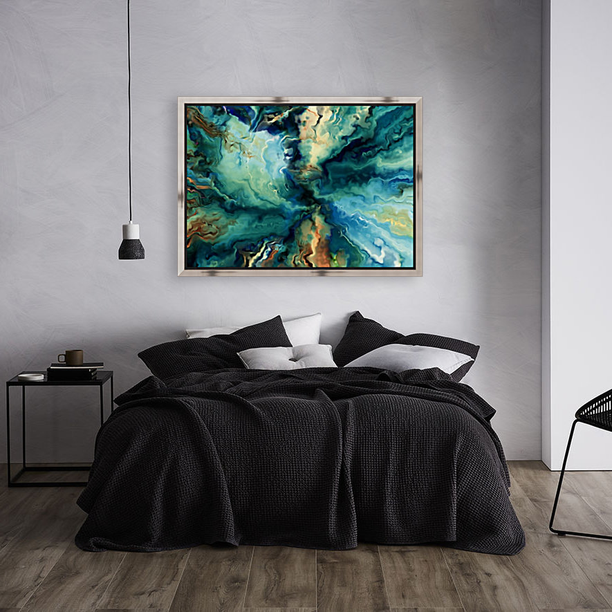 Oil Painting Abstract Color Line Wave Design  Art
