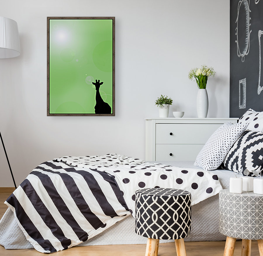 Silhouette Of A Giraffe with Floating Frame