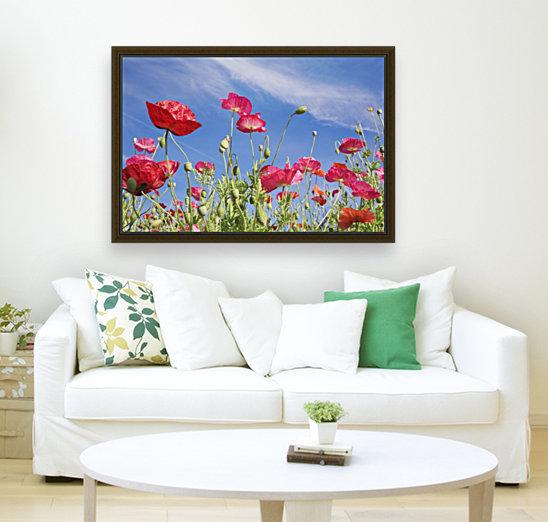 Red Flowers Against Blue Sky  Art