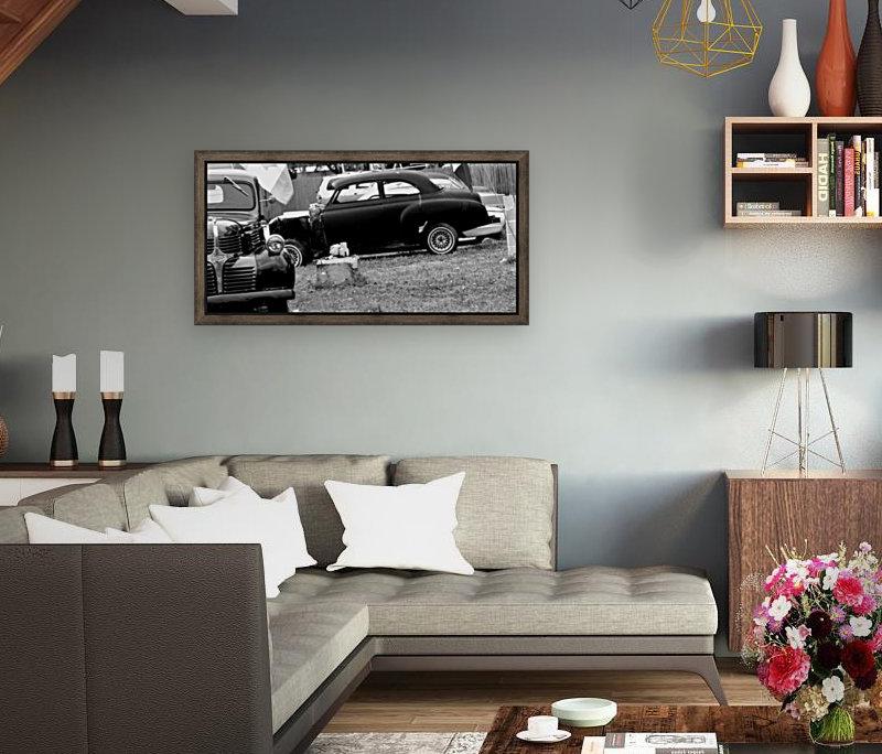 Black and White Vintage Cars  Art