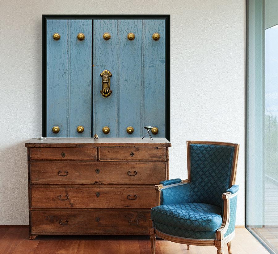 A Blue Door With Brass Decorative Knobs; Cusco, Peru  Art