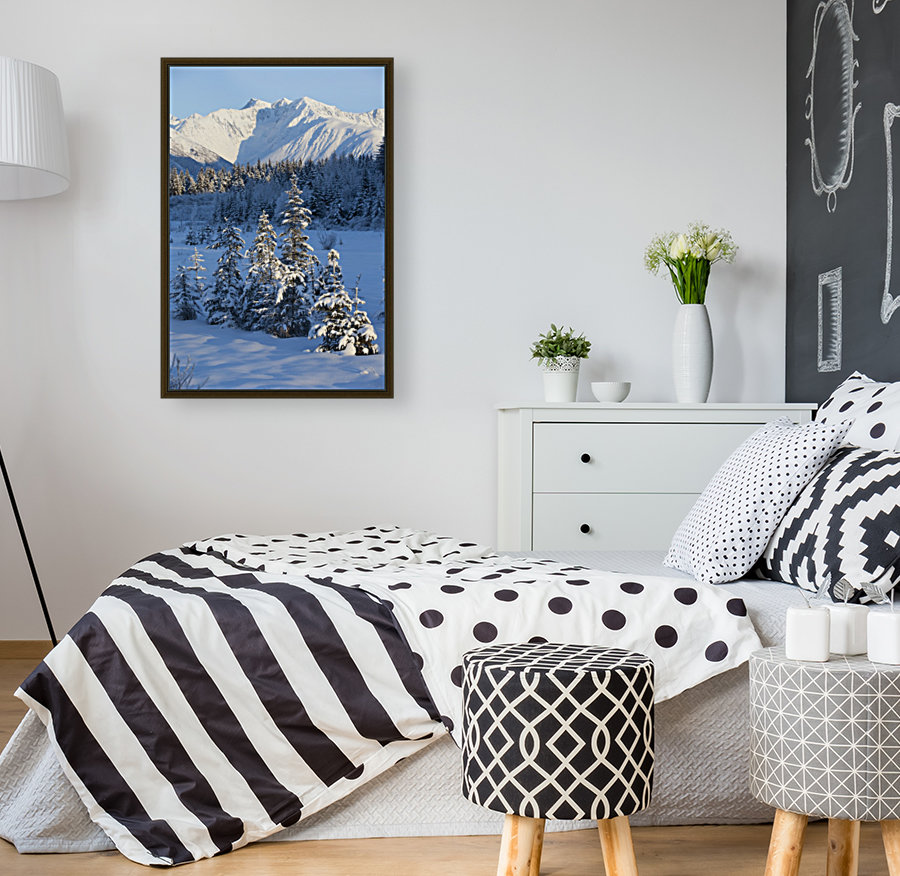 Scenic View Of Chugach Mountains And Snowcovered Landscape, Southcentral Alaska, Winter with Floating Frame