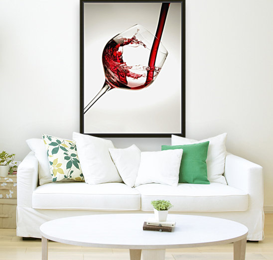 Red wine pouring into a glass  Art