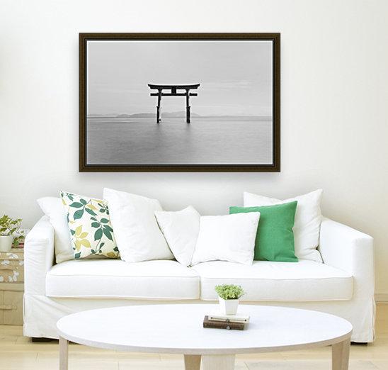 Black and white image of a floating shrine on a lake; Takashiyama, Shiga, Japan  Art