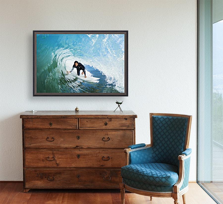 Surfer On Blue Ocean Wave  Art