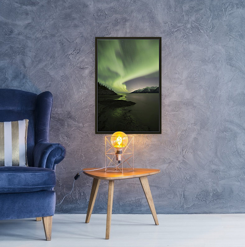 Aurora Borealis dancing above the Chugach Mountains and Turnagain Arm, Kenai Peninsula, Southcentral, Alaska  Art