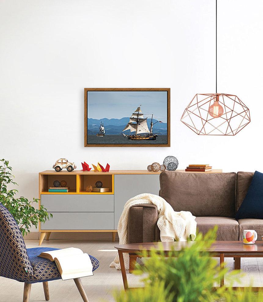 Tall ships sail on the Columbia River near Astoria; Oregon, United States of America  Art