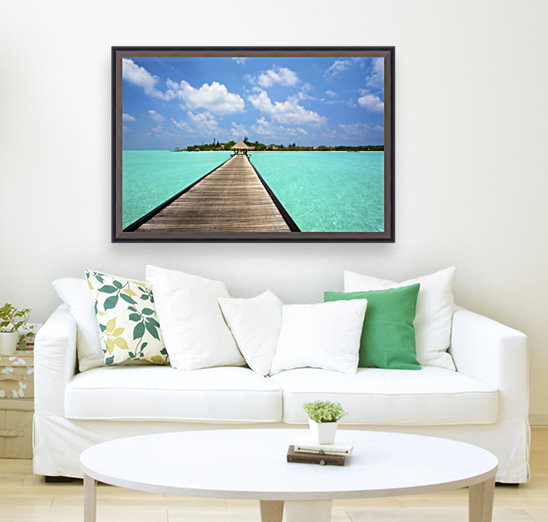 Jetty with cabana over crystal clear turquoise sea, Maldives  Art