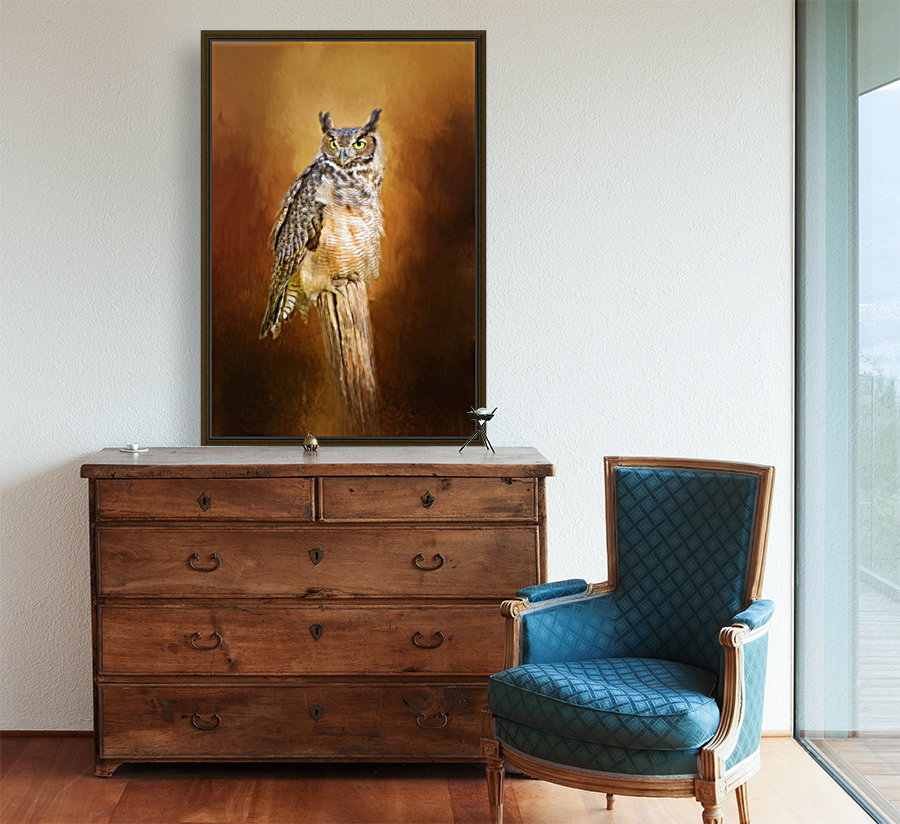 Great Horned Owl In Autumn  Art