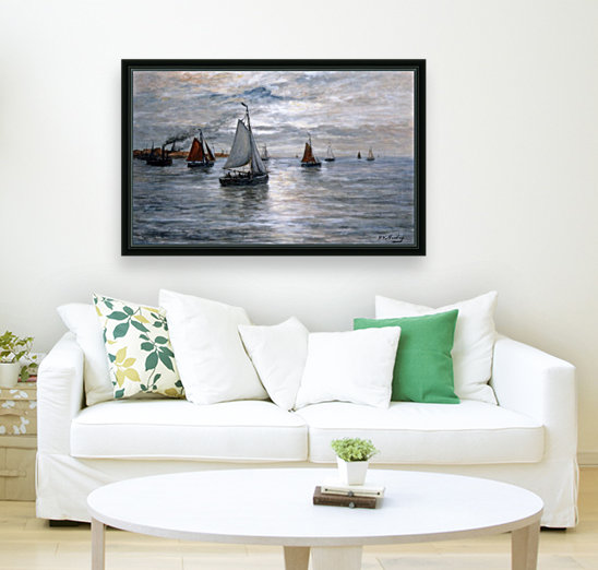 Sailing ships at Scheveningse coast  Art
