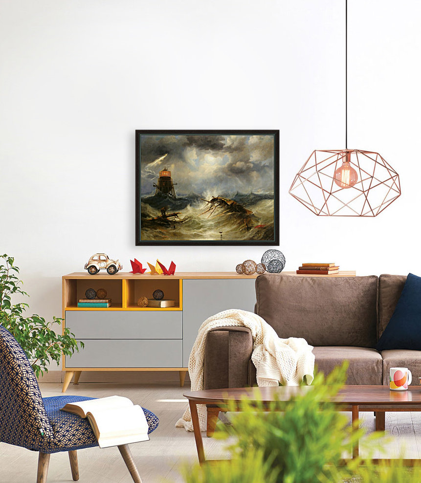 A stormy day on the sea and the lighthouse  Art