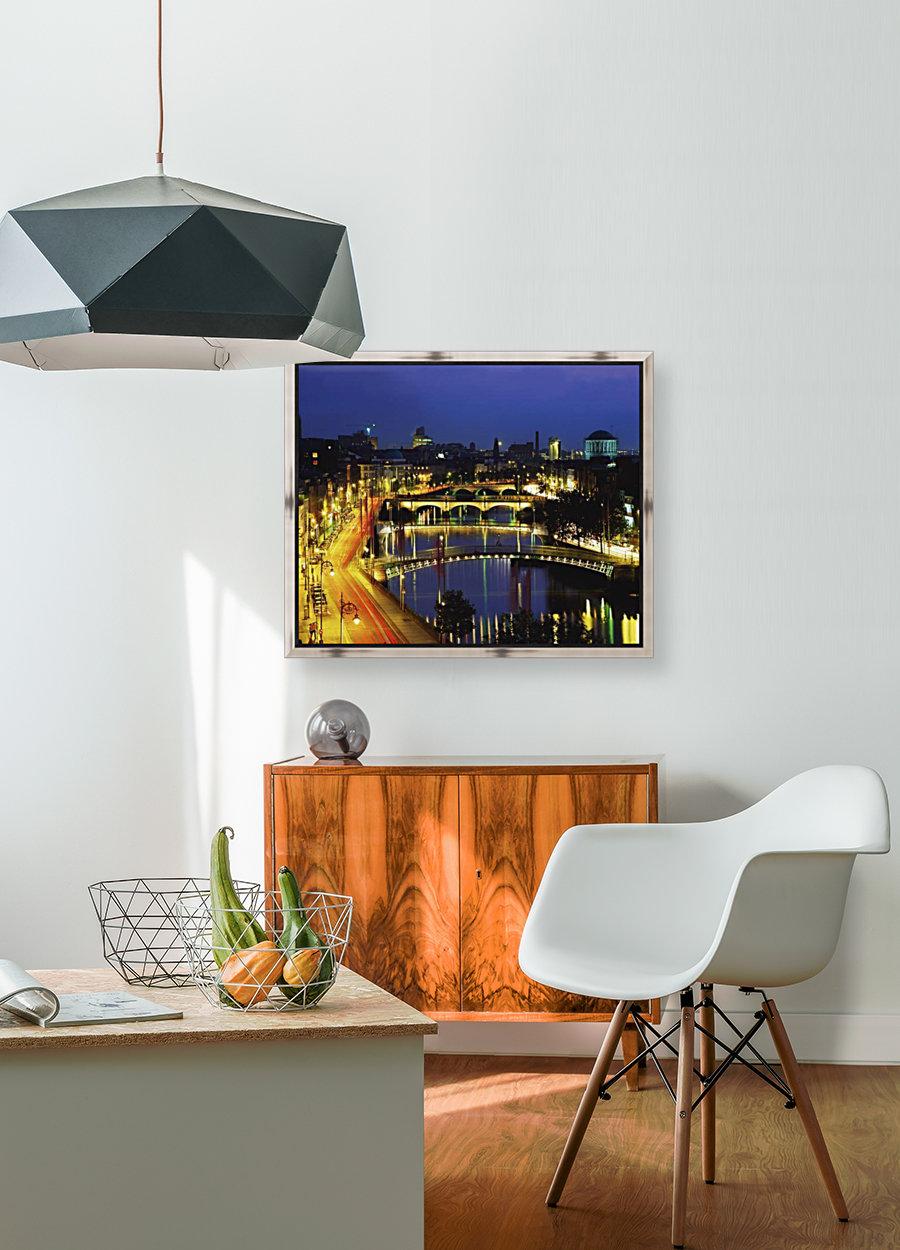 Dublin, Co Dublin, Ireland; View Of The River Liffey At Nighttime  Art