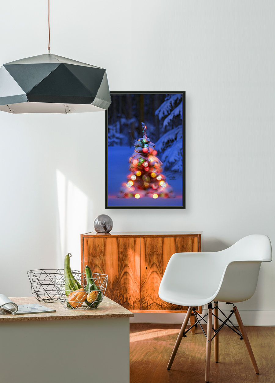 Illuminated Christmas Tree In A Forest  Art