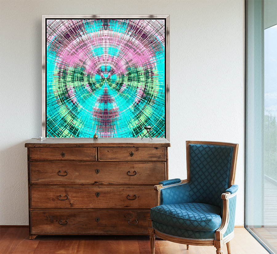 geometric pink blue and green circle plaid pattern abstract background  Art