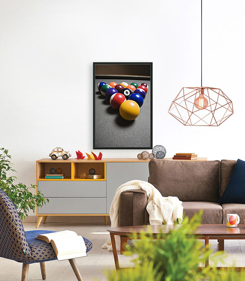 Pool Balls On A Billiard Table With The Eight Ball Facing Upwards  Art