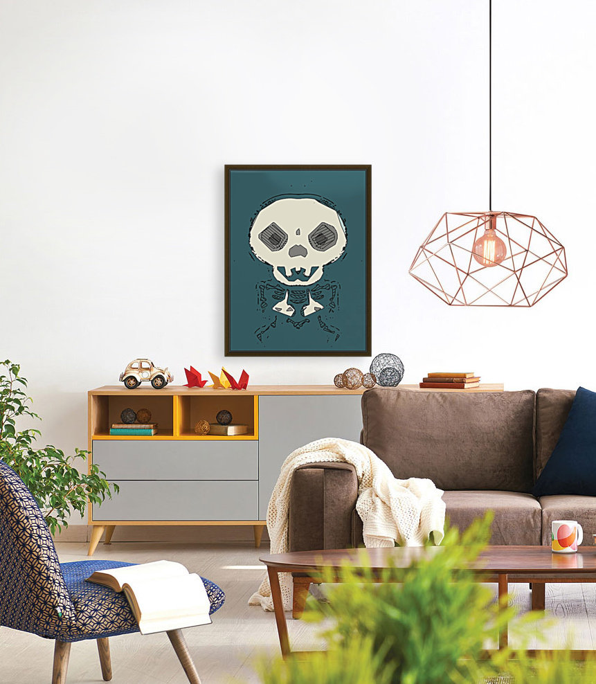 skull and bone graffiti drawing with green background  Art